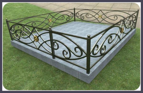 Кованые оградки Ритуальная кованая ограда на могилку Арт 6 Norkovka